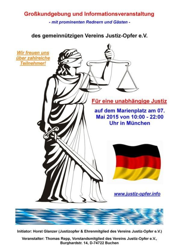 Plakat zur Kundgebung von Justiz-Opfer